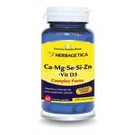 Ca+Mg+Se+Si+Zn cu Vit D3 Complex Forte (60 capsule), Herbagetica