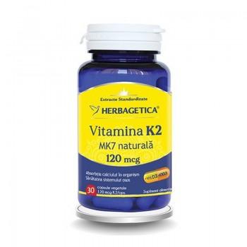 Vitamina K2 MK7 Naturala 120 mcg (30 capsule), Herbagetica