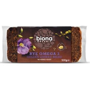 Paine integrala de secara cu seminte de in bio - fara drojdie- (500 grame), Biona