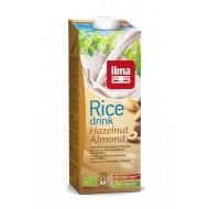 Lapte de orez cu migdale si alune de padure bio (1 litru), Lima