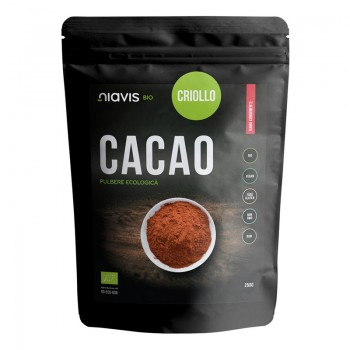 Cacao criollo pulbere RAW ecologica/BIO (250 grame), Niavis