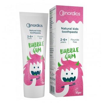 Pasta de dinti naturala pentru copii cu Bubble Gum (50 ml), Nordics