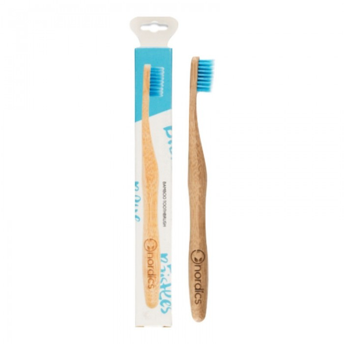 Periuta de dinti din bambus pentru adulti, albastra, Nordics