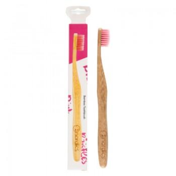 Periuta de dinti din bambus pentru adulti, roz, Nordics