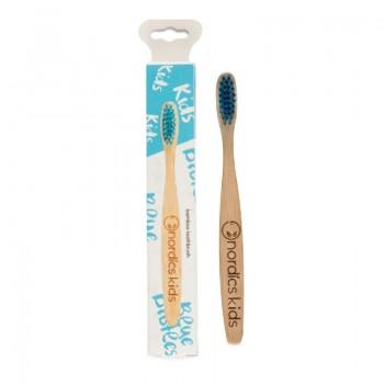Periuta de dinti din bambus pentru copii, albastra, Nordics