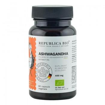 Ashwagandha ecologica din India extract 5% (60 capsule), Republica Bio