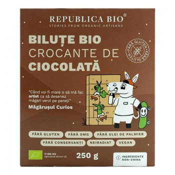 Bilute Bio crocante de ciocolata fara gluten (250 grame), Republica Bio