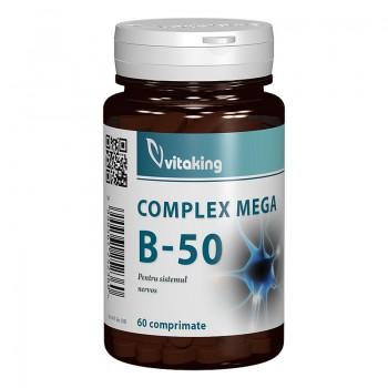 Complex Mega B-50 cu Folat (60 comprimate), Vitaking