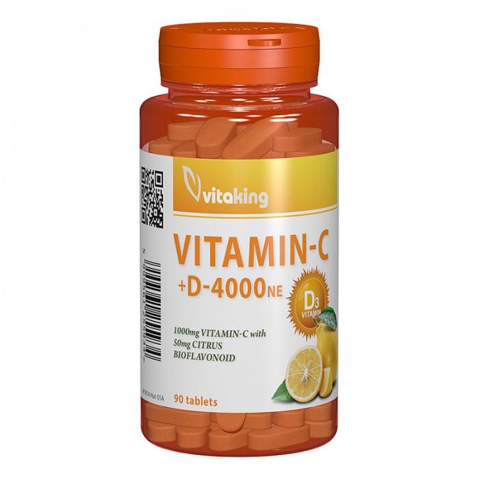 Vitamina C + D 4000 UI cu bioflavonoide (90 comprimate), Vitaking