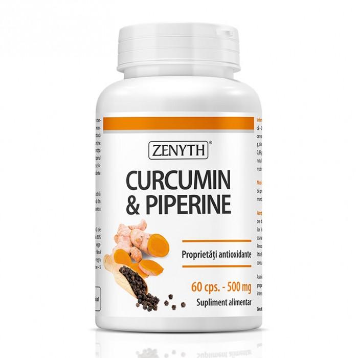 Curcumin si Piperine 500 mg (60 capsule), Zenyth Pharmaceuticals