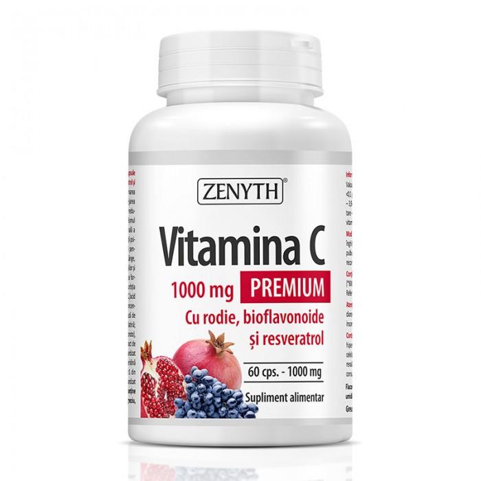 Vitamina C Premium 1000 mg cu rodie si bioflavonoide (60 capsule), Zenyth Pharmaceuticals