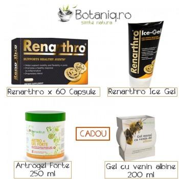 Pachet Renarthro (60 capsule)+ Renarthro Ice gel (150 ml)- Cadou Artrogel Forte (250 ml) + Gel masaj cu venin de albine (200 ml)
