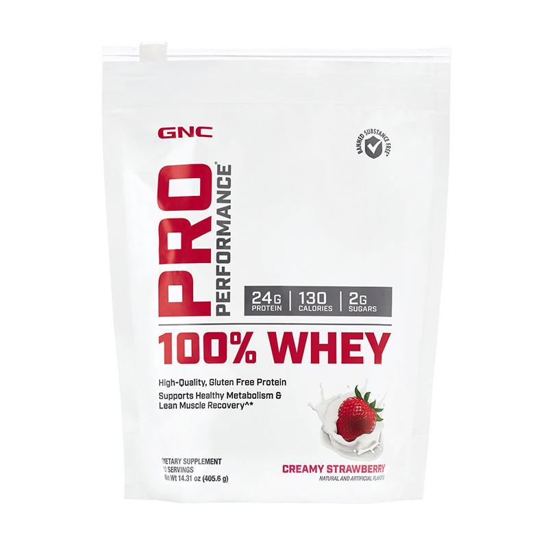 100% Whey Proteina din zer cu aroma de capsuni (405.6 grame), GNC Pro Performance