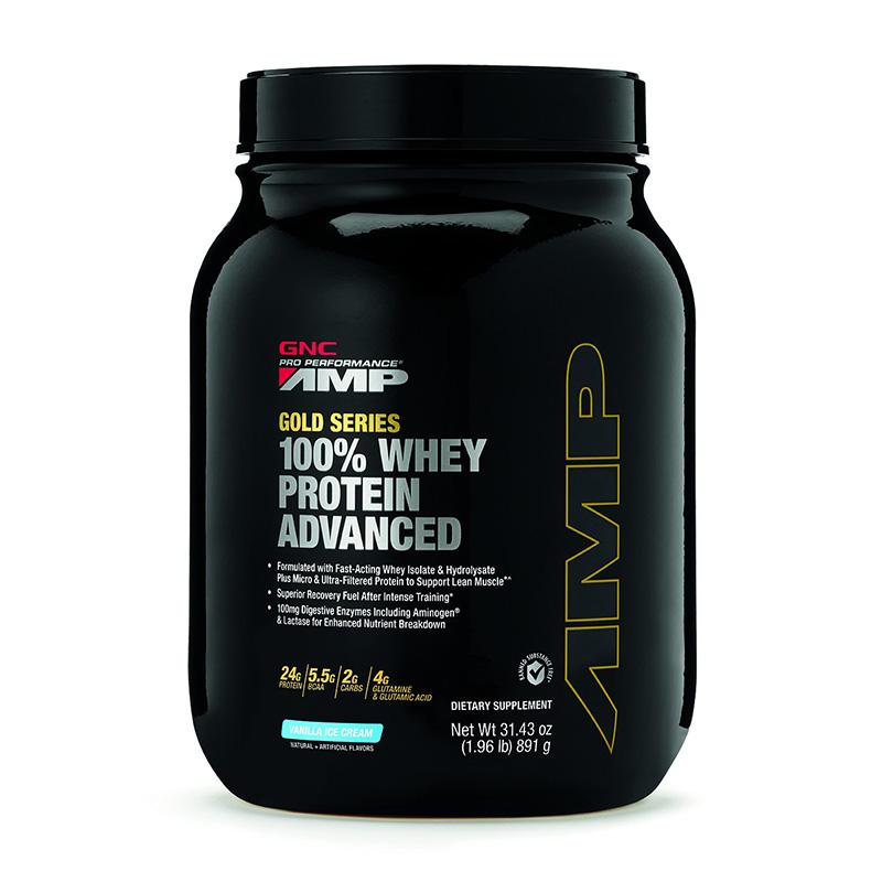 AMP Gold Advanced 100% Proteina din zer cu aroma de vanilie (891 grame), GNC