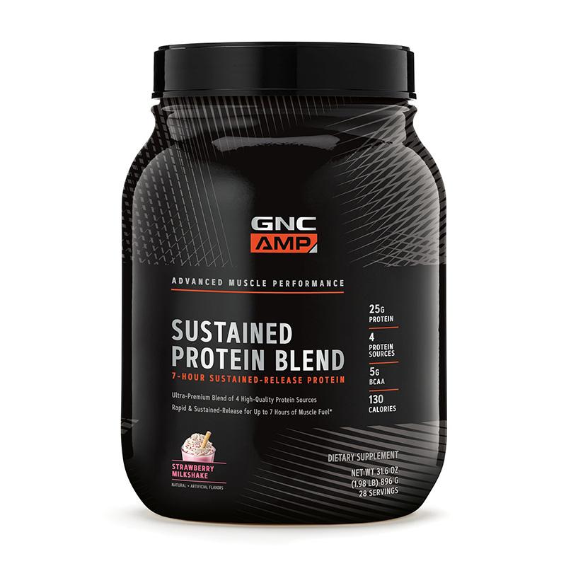 AMP Sustained Protein Blend Amestec proteic cu aroma de milkshake de capsuni (896 grame), GNC