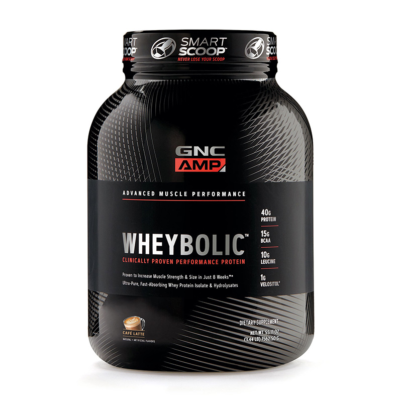 AMP Wheybolic Proteina cu aroma de cafea cu lapte (1562.50 grame), GNC