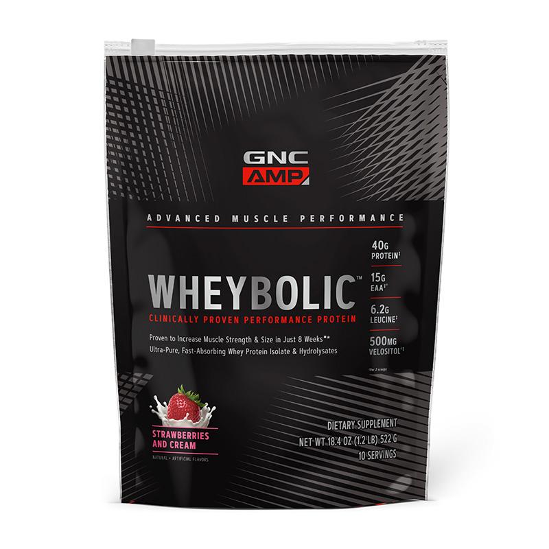 AMP Wheybolic Proteina cu aroma de capsuni (522 grame), GNC