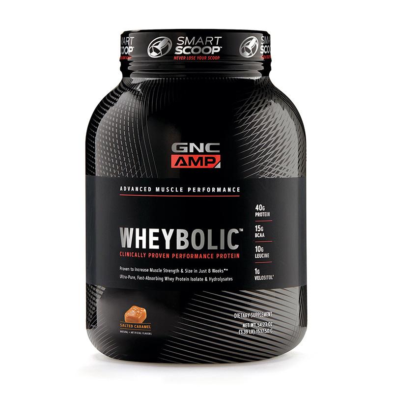AMP Wheybolic Proteina cu aroma de caramel sarat (1537.50 grame), GNC
