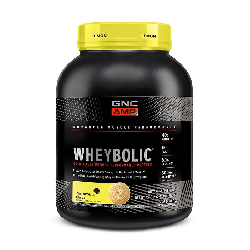 AMP Wheybolic Proteina cu aroma de lamaie Girl Scouts (1300 grame), GNC