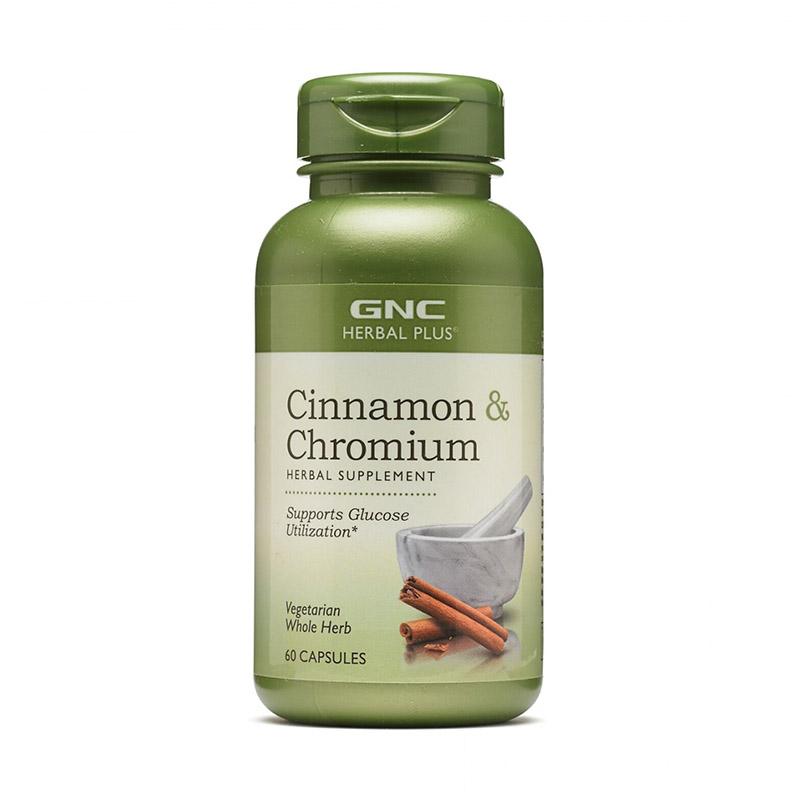 Extract standardizat de scortisoara si crom (60 capsule), GNC Herbal Plus