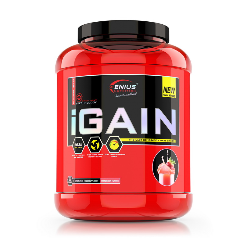 iGain cu aroma de capsuni (2750 grame), Genius Nutrition