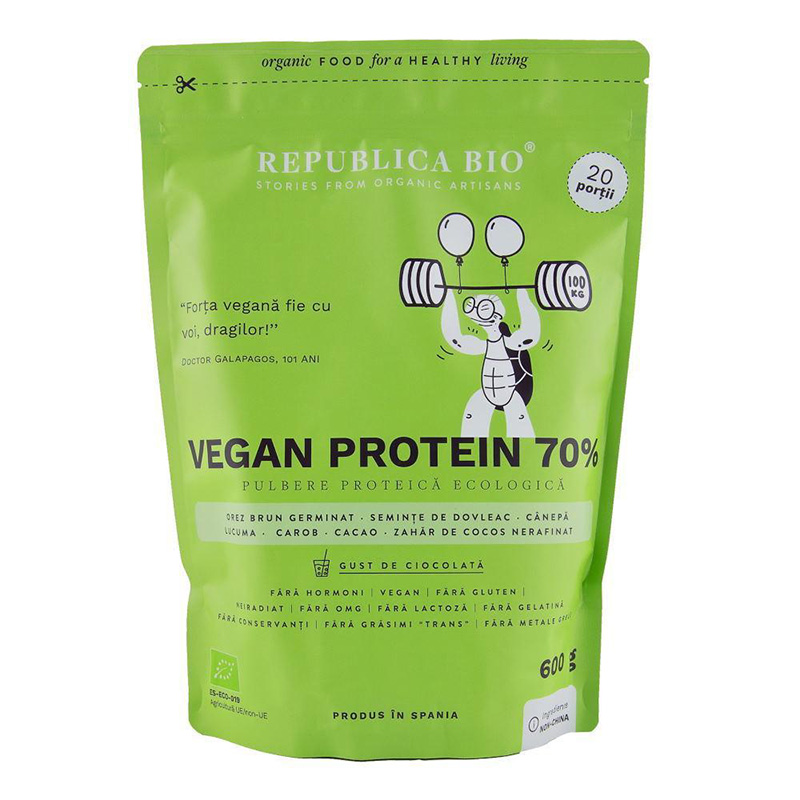 Vegan protein 70% pulbere functionala cu gust de ciocolata (600 grame), Republica Bio